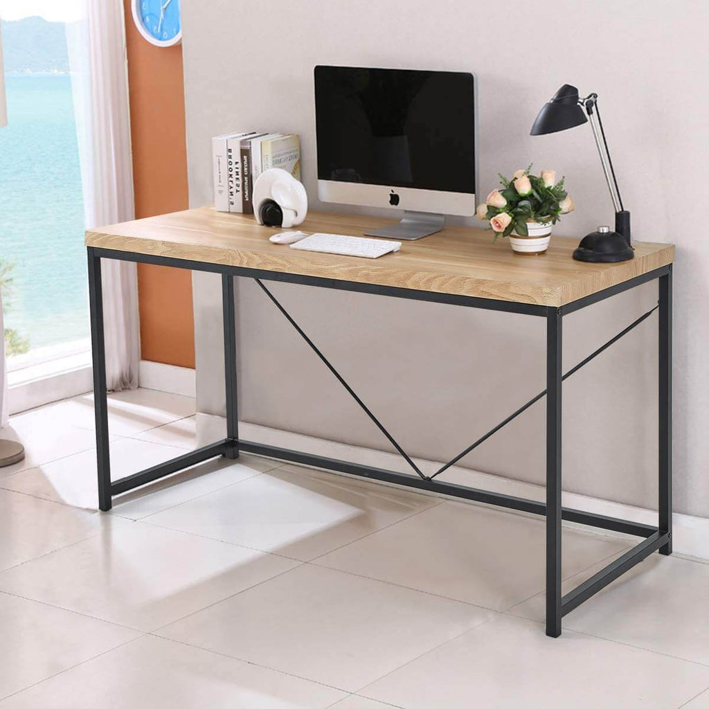 Rustic Industrial Computer Desk,Wood and Metal Writing Desk, Vintage PC Table for Home Office, 55 inch