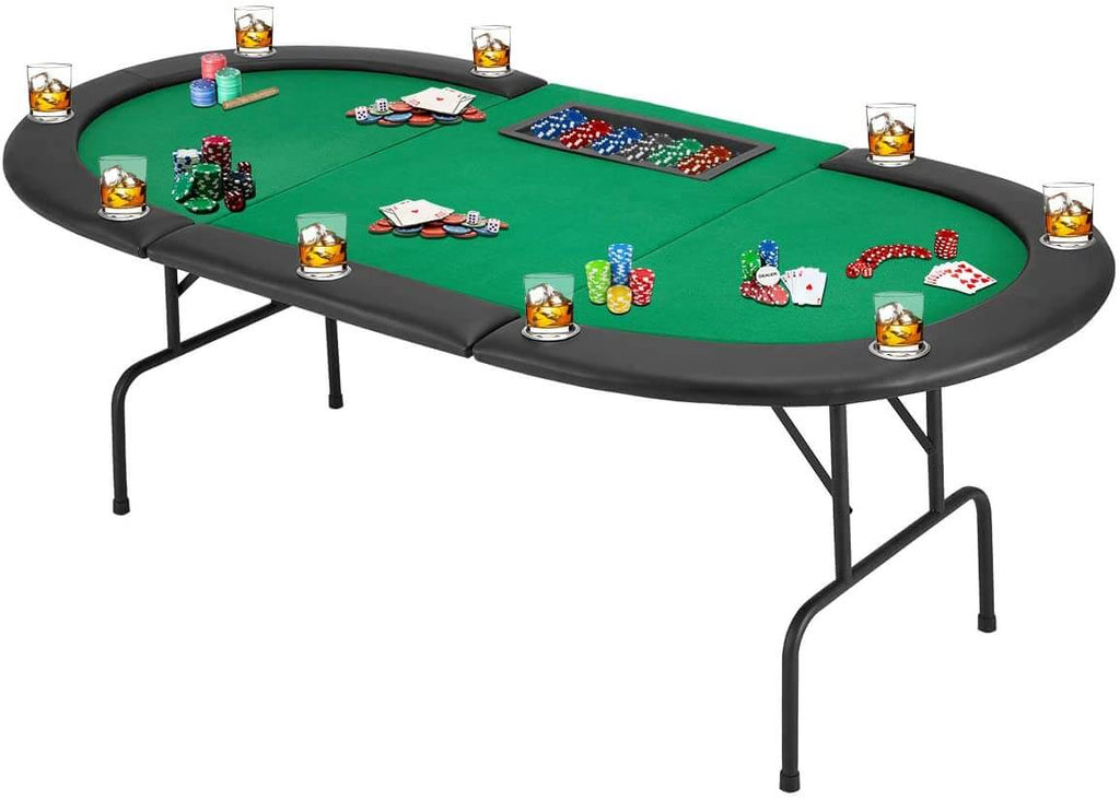 Poker Game Table w/Stainless Steel Cup Holder w/Leg, Casino Leisure Table Top Texas Hold 'Em Poker Play Table, Green Felt