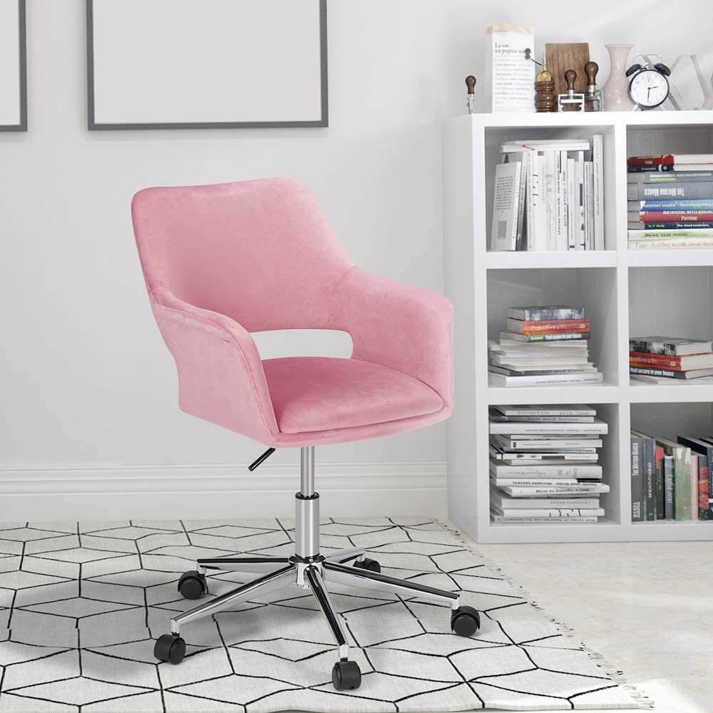 HomRest Desk Chair, Plush Velvet Office Chair for Home or Office, Modern, Comfortble, Nice Task Chair for Computer Desk (Polish Steel-Pink)