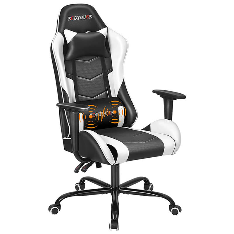 HOMREST PC Gaming Chair Massage Ergonomic Office Desk Chair Racing PU Leather Recliner Swivel Rocker with Headrest and Lumbar Pillow, White