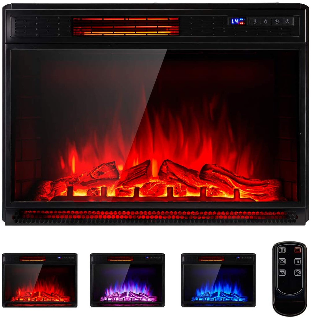 29 Inch Electric Fireplace Insert, Recessed Mounted & Freestanding Electric Fireplace Heater with Remote Control