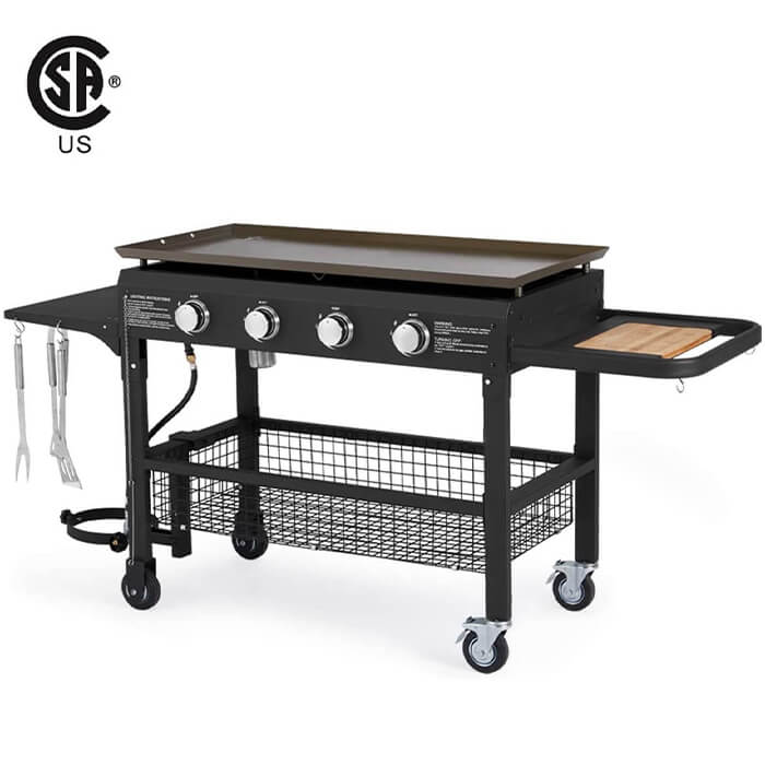 4-Burner Propane Gas Grill with Steel Griddle Flat Top 48000BTU with Foldable Legs