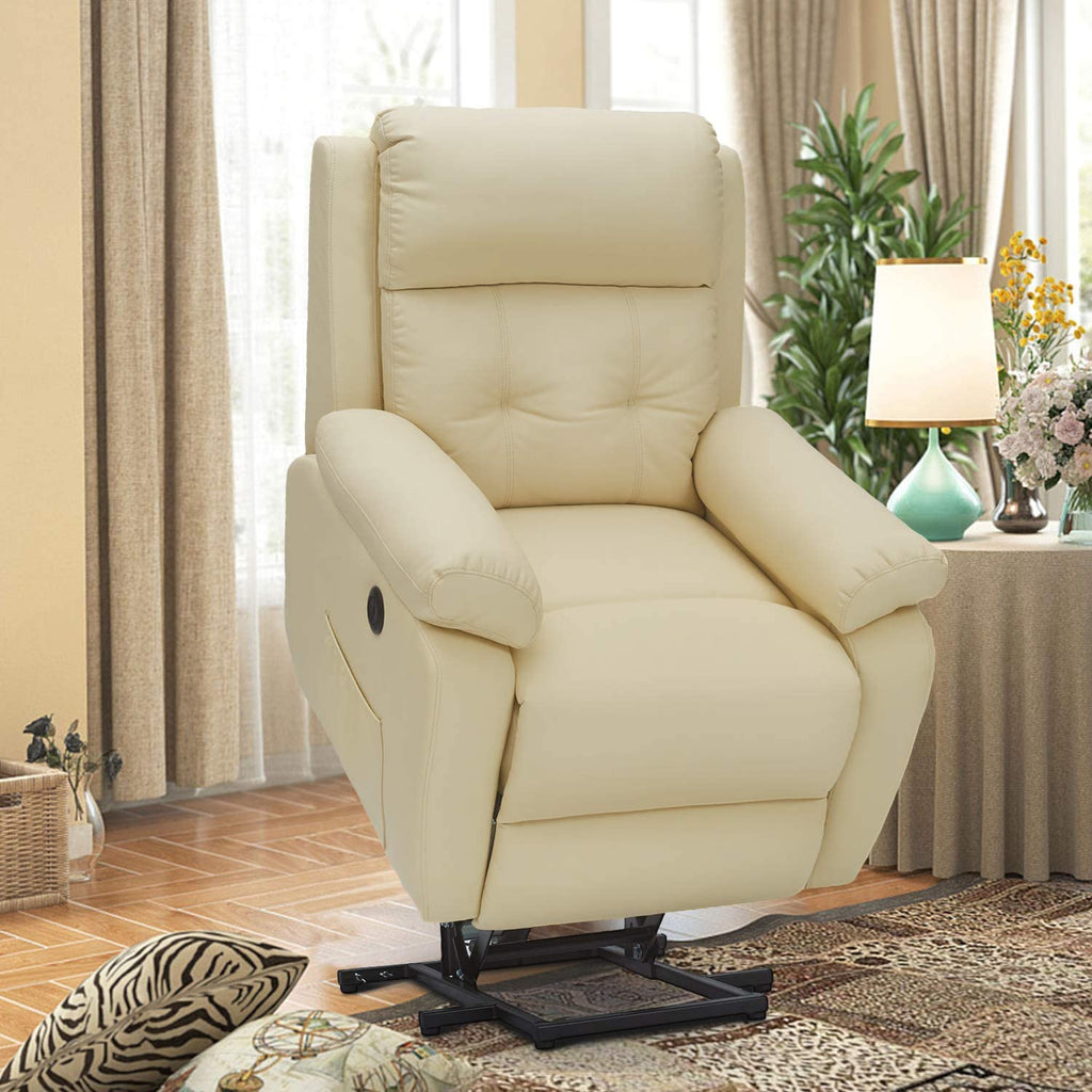 Esright Electric Power Lift Recliner Chair Sofa for Elderly, Faux Leather Recliner Chair with Heated Vibration Massage with Side Pocket&USB Port, Cream