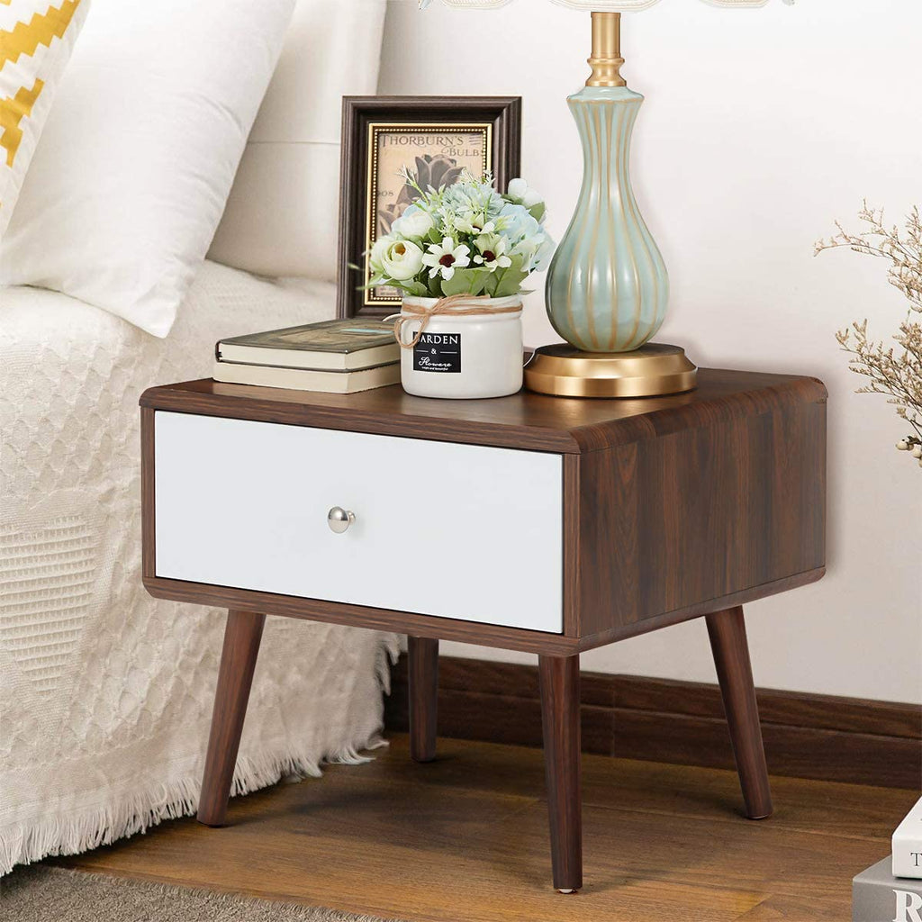 Mid-Century Side Table with Storage Drawer, Storage Drawer Bedside End Table, Nightstand
