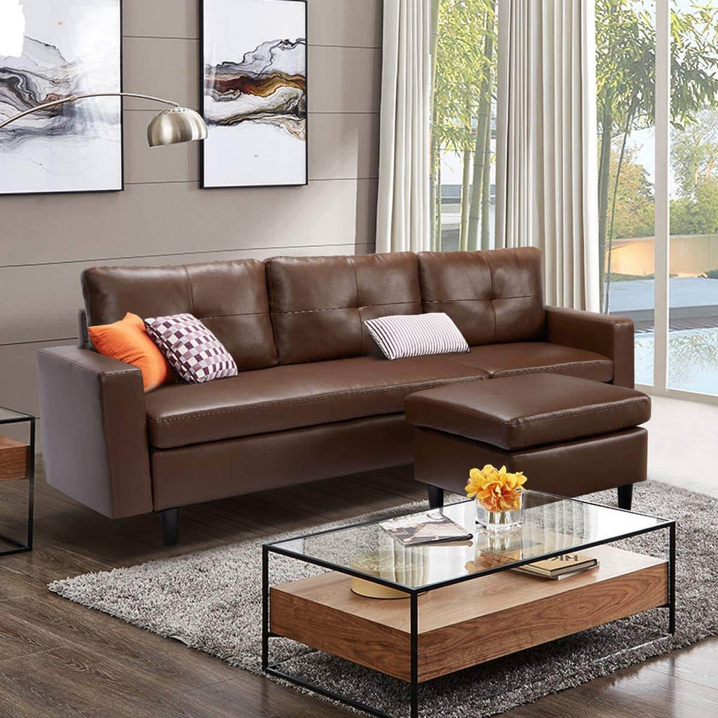 Faux Leather Sectional Sofa Convertible Couch Brown Leather L-Shape Couch for Small Space Apartment