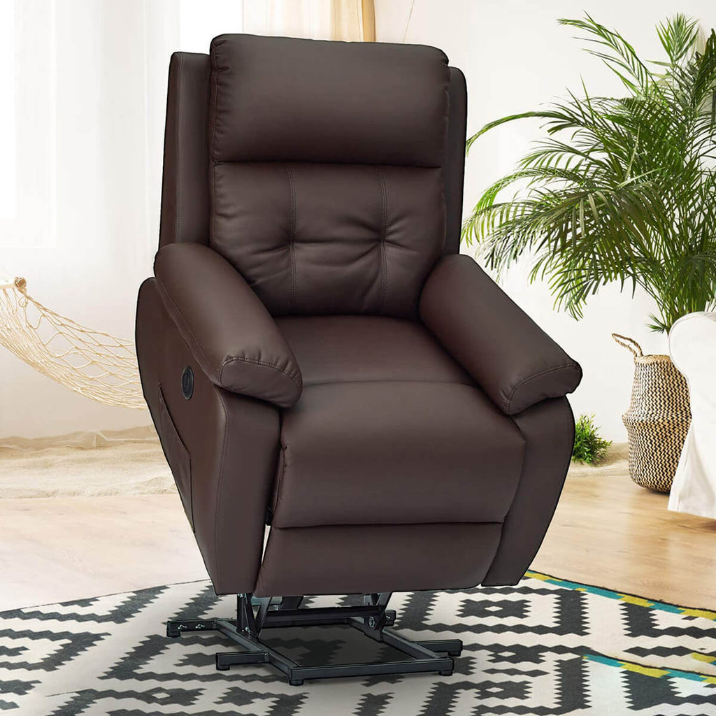 Electric Power Lift Recliner Chair Sofa for Elderly, Faux Leather Recliner Chair with Heated Vibration Massage, Heavy Duty & Safety Motion Reclining Mechanism, Brown