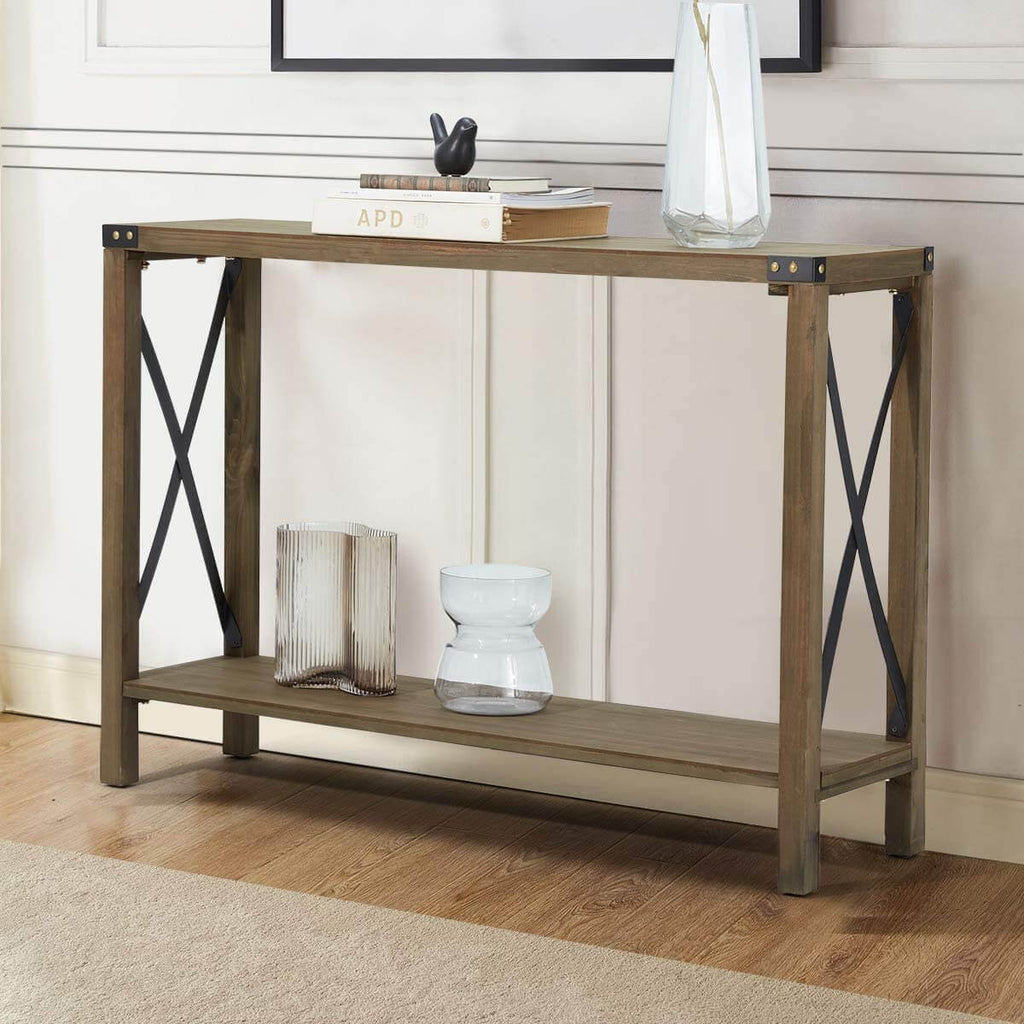 43 Inch Console Table with 2 Tier Storage Shelf, Waterproof Console Sofa Table Vintage Table for Entryway Living Room