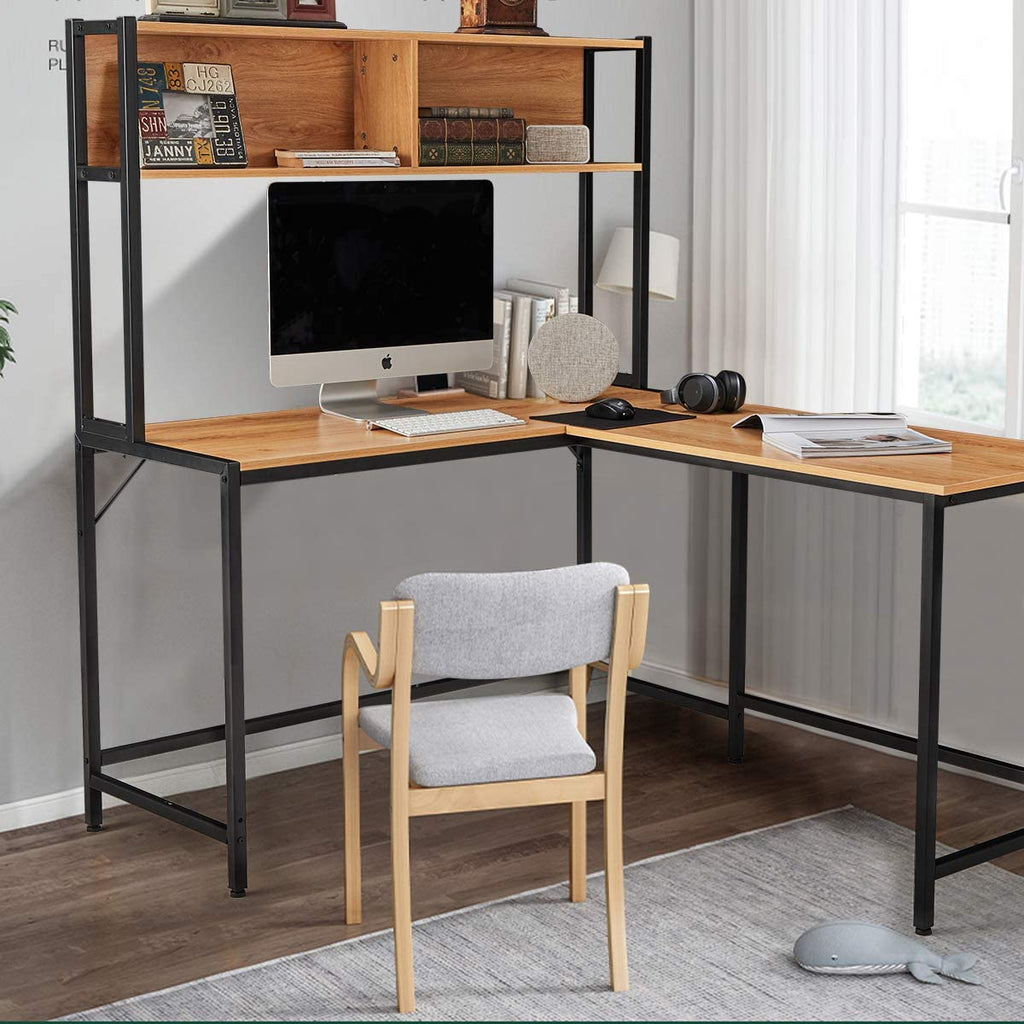 L Shape Computer Desk with Hutch Space-Saving Corner Desk Workstation for Home Office