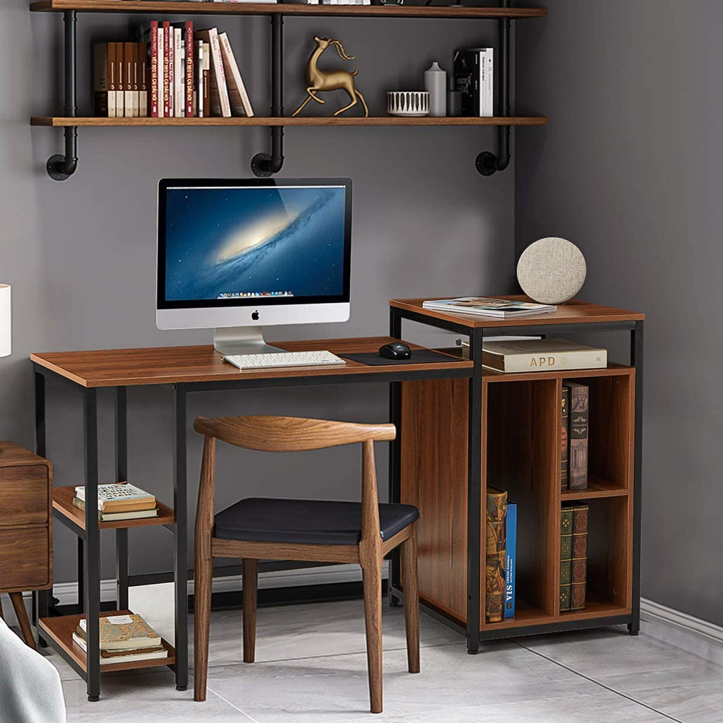 Computer Desk with Storage Bookshelves 47 inch Writing Desk for Home Office Brown