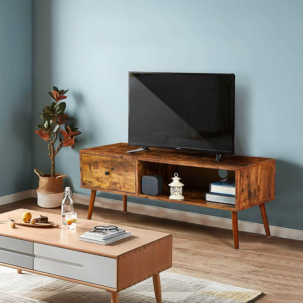 Retro TV Stand, Mid Century Modern TV Console with 2 Storage Shelves, Coffee Table for Flat Screen TV, in Living Room, Entertainment Room, Office
