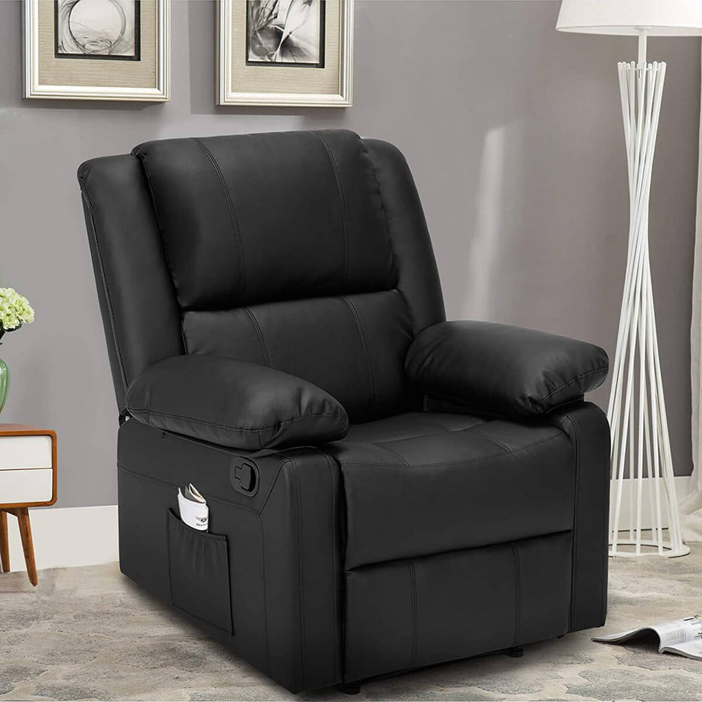 Esright Recliner Chair with Massage Heated Function, Modern PU Leather Lounge Chair with Side Pocket, Single Sofa Seat Living Room Chair, Black