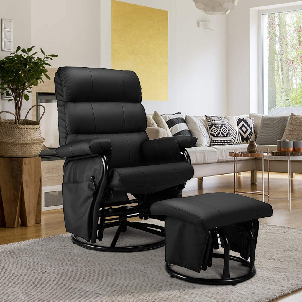Glider Recliner with Ottoman, Swivel Glide Chair, Faux Leather Lounge Recliner with Footrest, Vibration Massage Lounge Chair with Side Pocket, Black