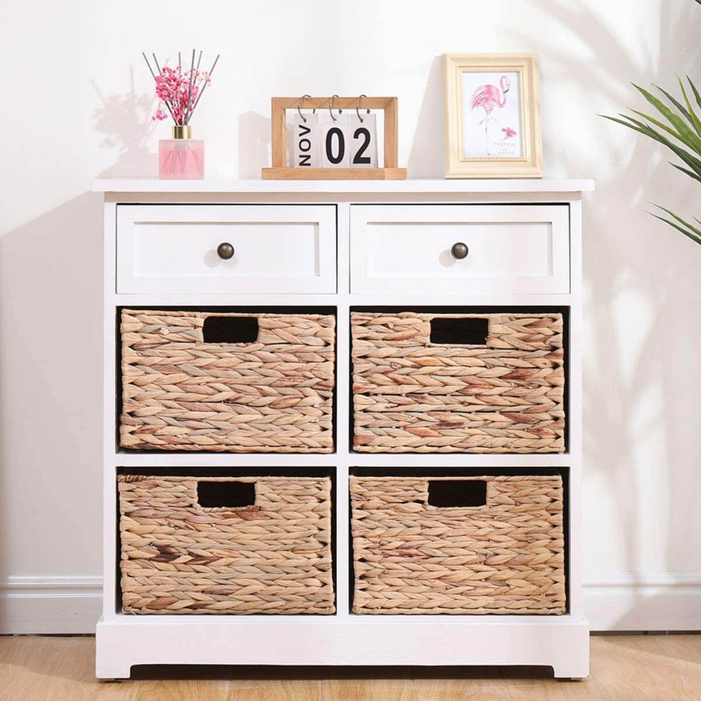 Storage Cabinet Retro Style Storage Chest Entryway Cabinet for Home, White