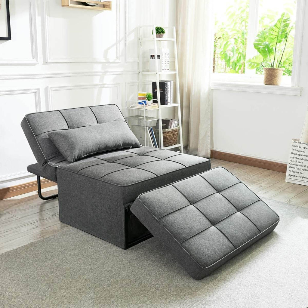Sofa Bed, Convertible Chair 4 in 1 Multi-Function Folding Ottoman Modern Breathable Linen Guest Bed with Adjustable Sleeper for Small Room Apartment, Dark Gray