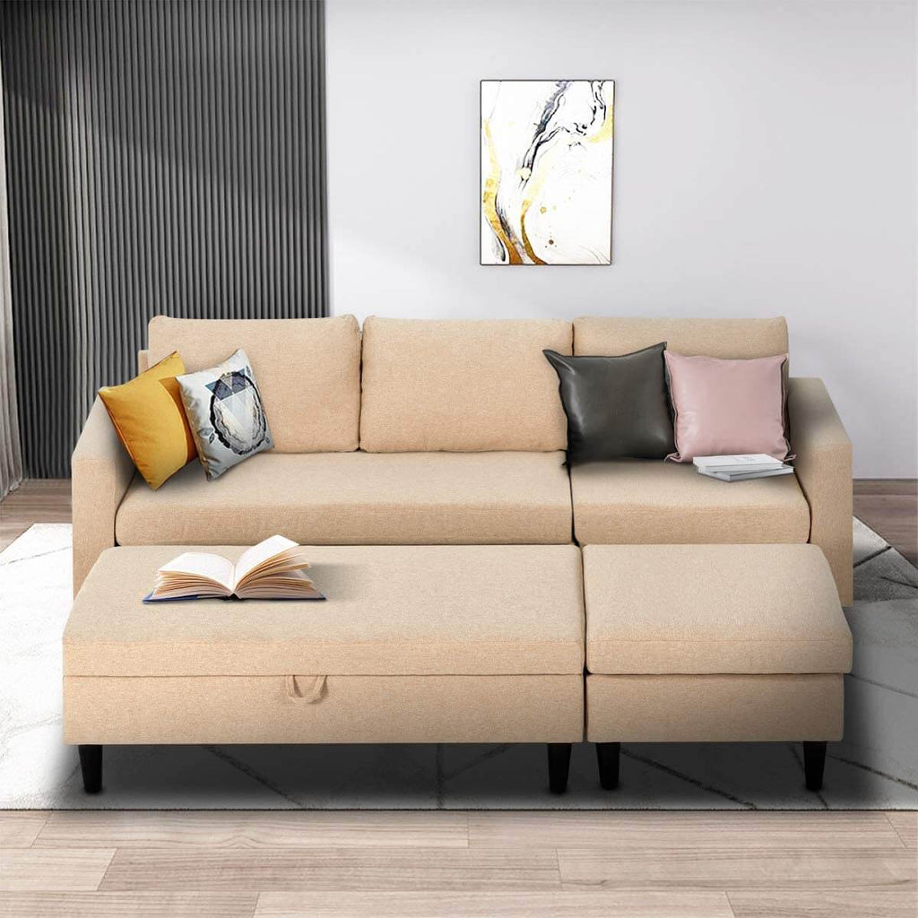 Esright Sectional Sofa with Ottoman and Chaise Lounge, 3-Seat Living Room Furniture Sets, L-Shape Couch Sofa for Living Room, Light Beige