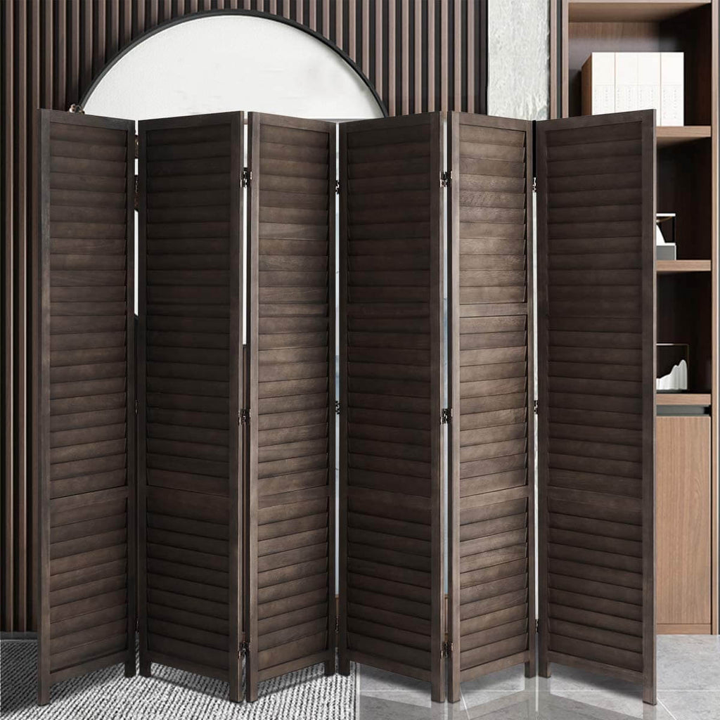 Esright 6 Panel Wood Room Divider, 5.6 Ft Tall Folding Privacy Screen Room Divider, Freestanding Partition Wall Dividers for Office,Bamboo,Bedroom, Dark Brown