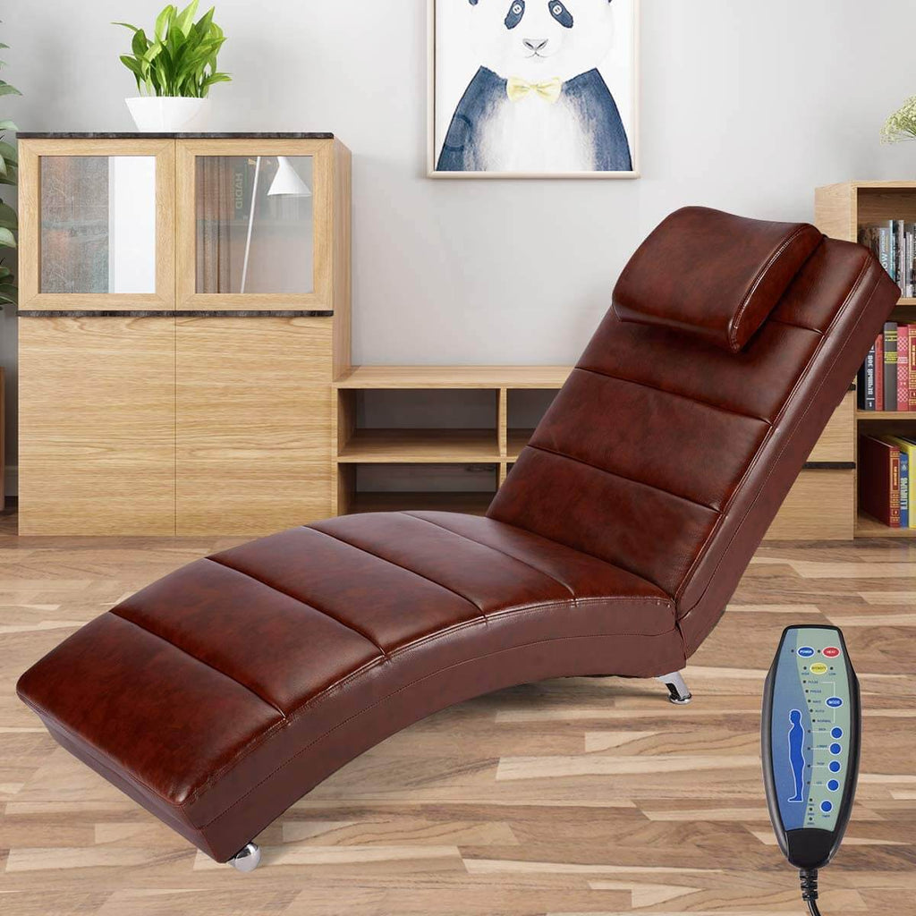 Massage Chaise Lounge Chair, Indoor Chaise Chair for Bedroom, Living Room with Vibration Heat Fuction, Chocolate