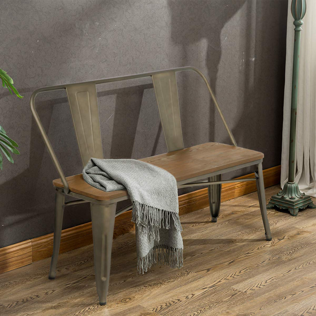 Metal Bench Industrial Mid-Century 2 Person Chair with Wood Seat,Dining Bench with Floor Protector