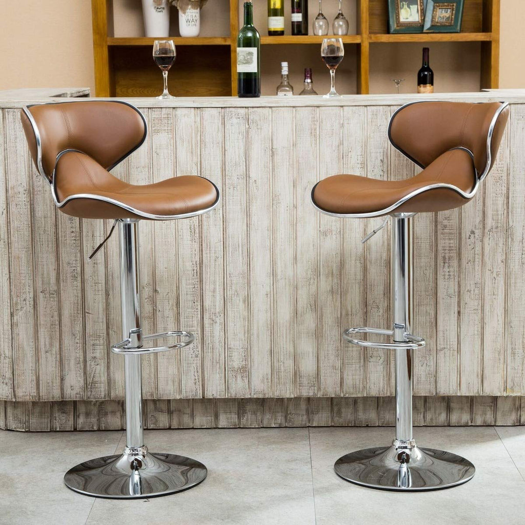Barstool Adjustable Caramel PU Leather Counter Height with Back for Kitchen Set of 2