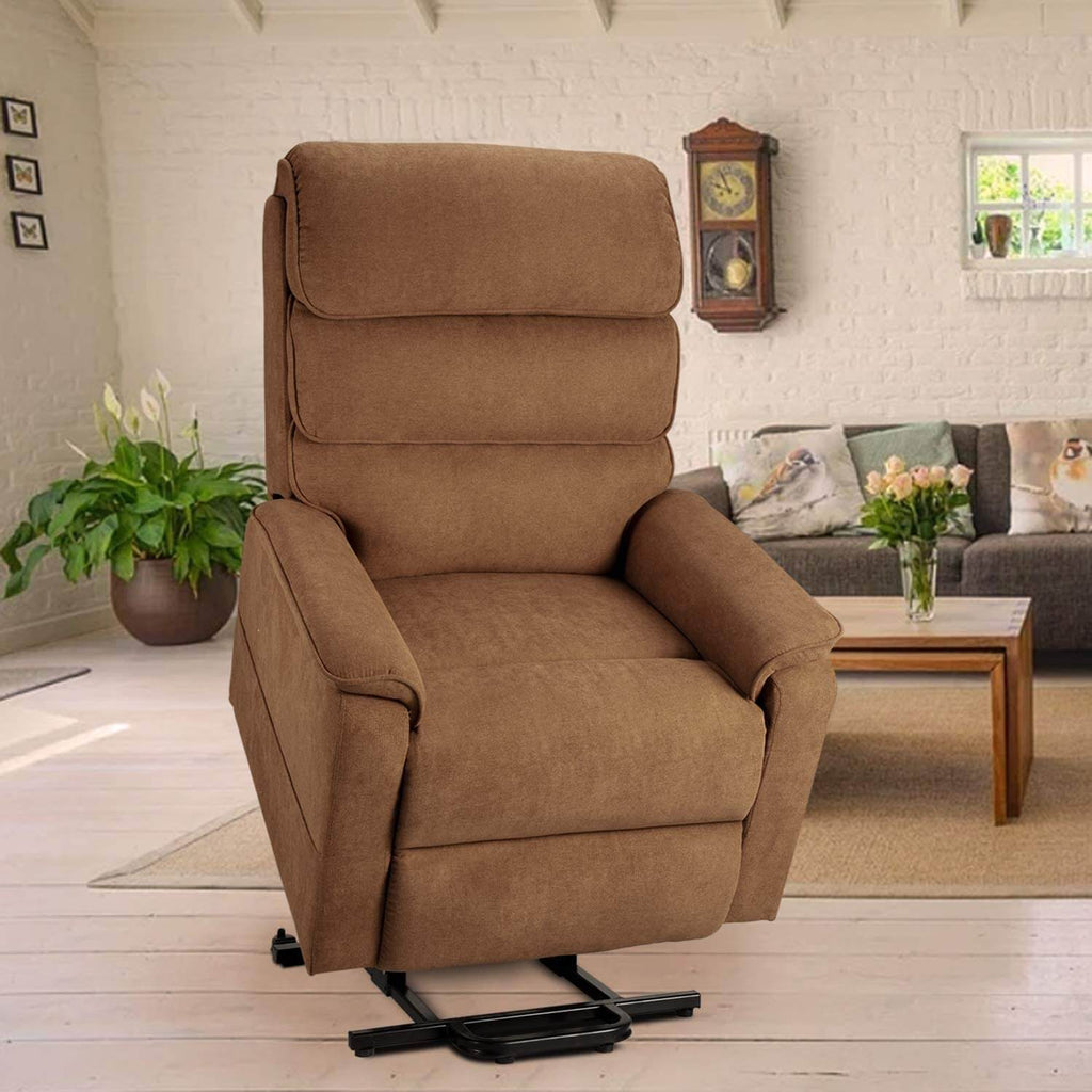 Esright Dual Motor Electric Power Recliner Lift Chair Linen Fabric Electric Recliner for Elderly, Heated Vibration Massage Sofa with Side Pockets & Remote Control, Brown