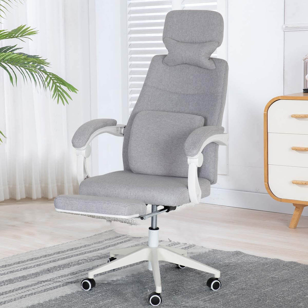 Ergonomic Office Chair, High Back Adjustable with Footrest and Headrest Desk Chairs with Flip Up Armrests and Lumbar Support, Gray