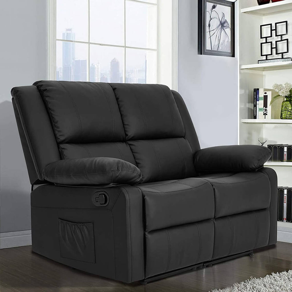 Esright Recliner Chair with Massage Heated Function, Modern PU Leather Lounge Chair with Side Pocket, 2 Seat Sofa Living Room Chair, Black