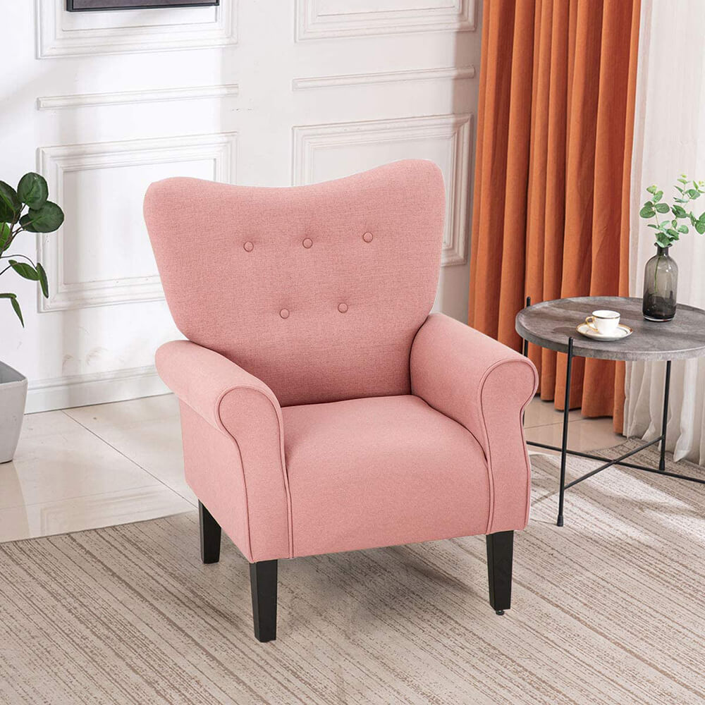 Mid Century Wingback Arm Chair, Modern Upholstered Fabric High Back Accent Chair, Pink