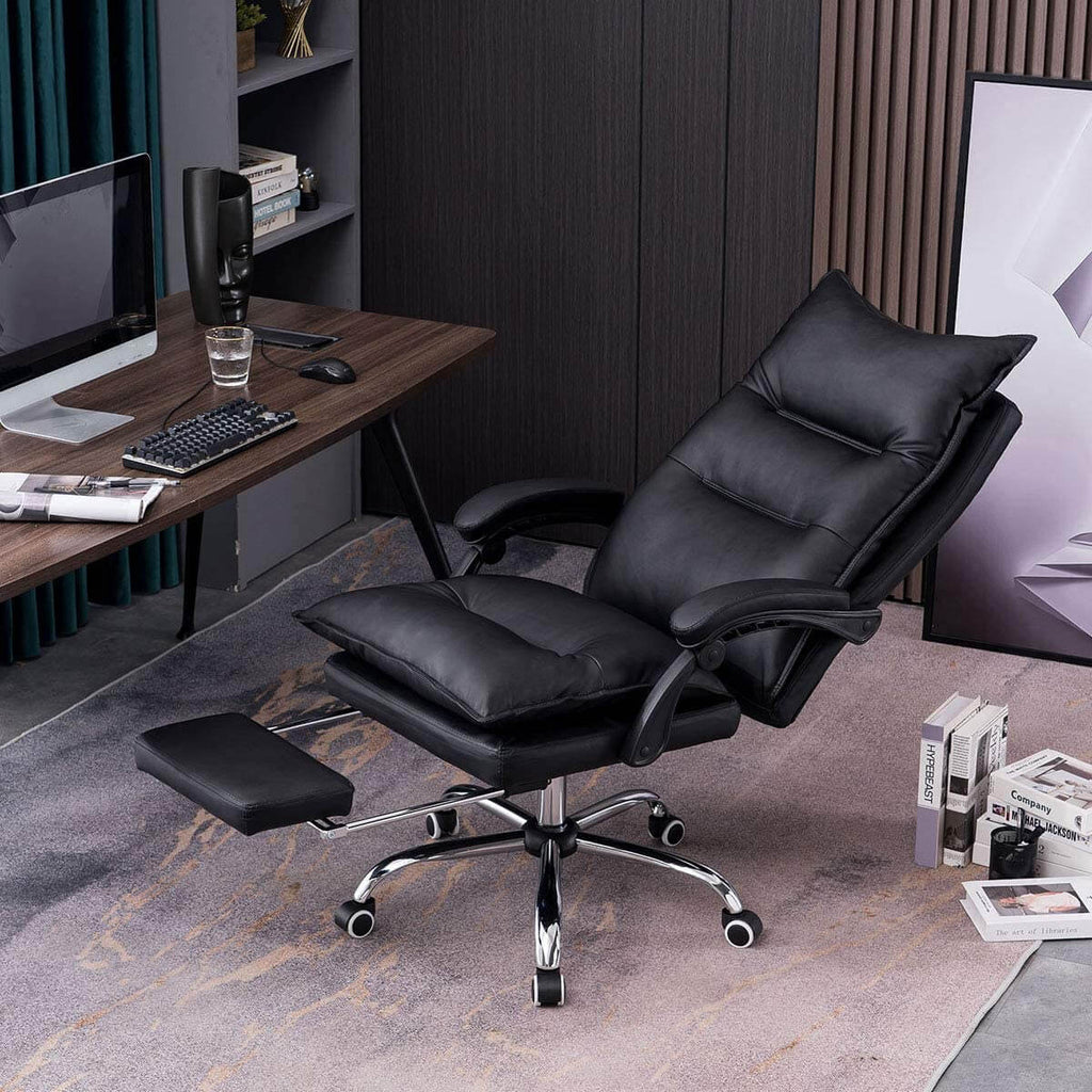 High Back Office Chair PU Leather Executive Desk Swivel Task Chair with Padded Armrests Black
