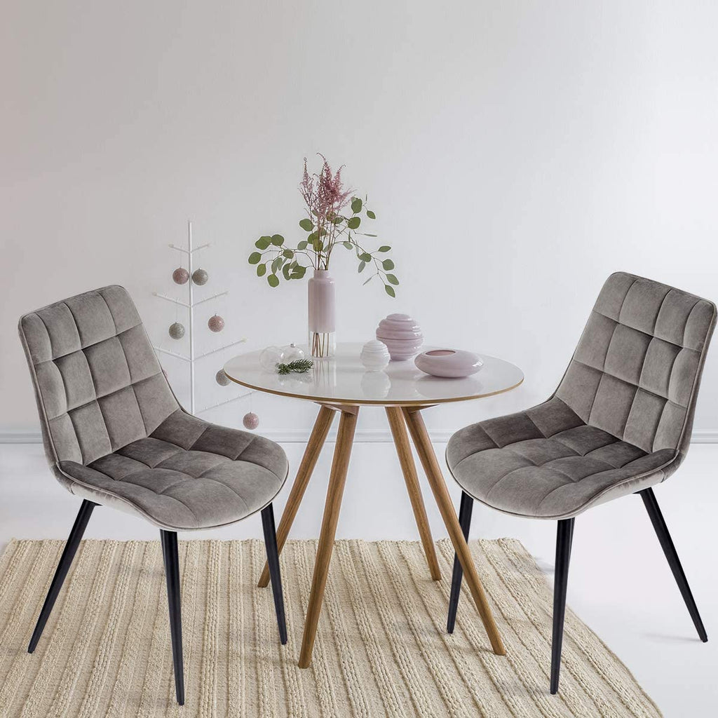 Velvet Dining Chairs Set of 2 Mid Century Modern Leisure Upholstered Chair with Metal Legs Grey