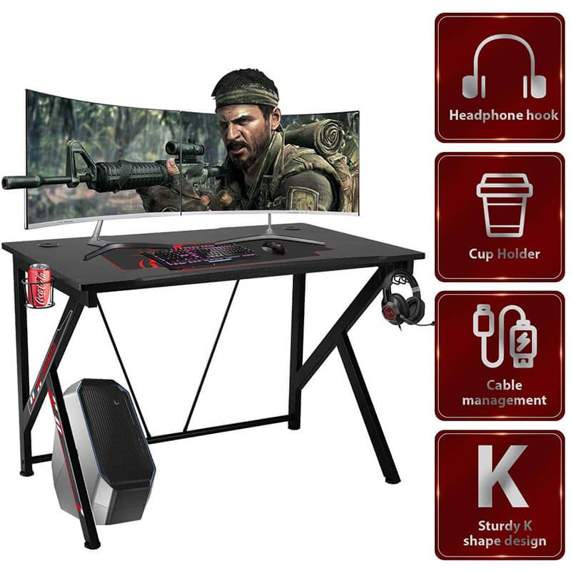 "42.5"" Gaming Desk K-Shape Gaming Table Home Computer Desk with Cup Holder and Headphone Hook Gamer Workstation Game Table, Red"