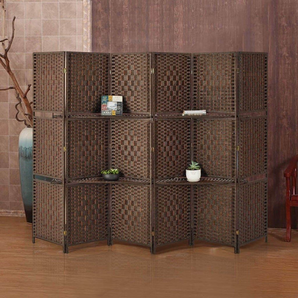 6 Panels Room Divider, 6 FT Tall&Extra Wide Weave Fiber Room Divider with 2 Shelved, Double Hinged,Folding Privacy Screens, Freestanding Room Dividers, Brown