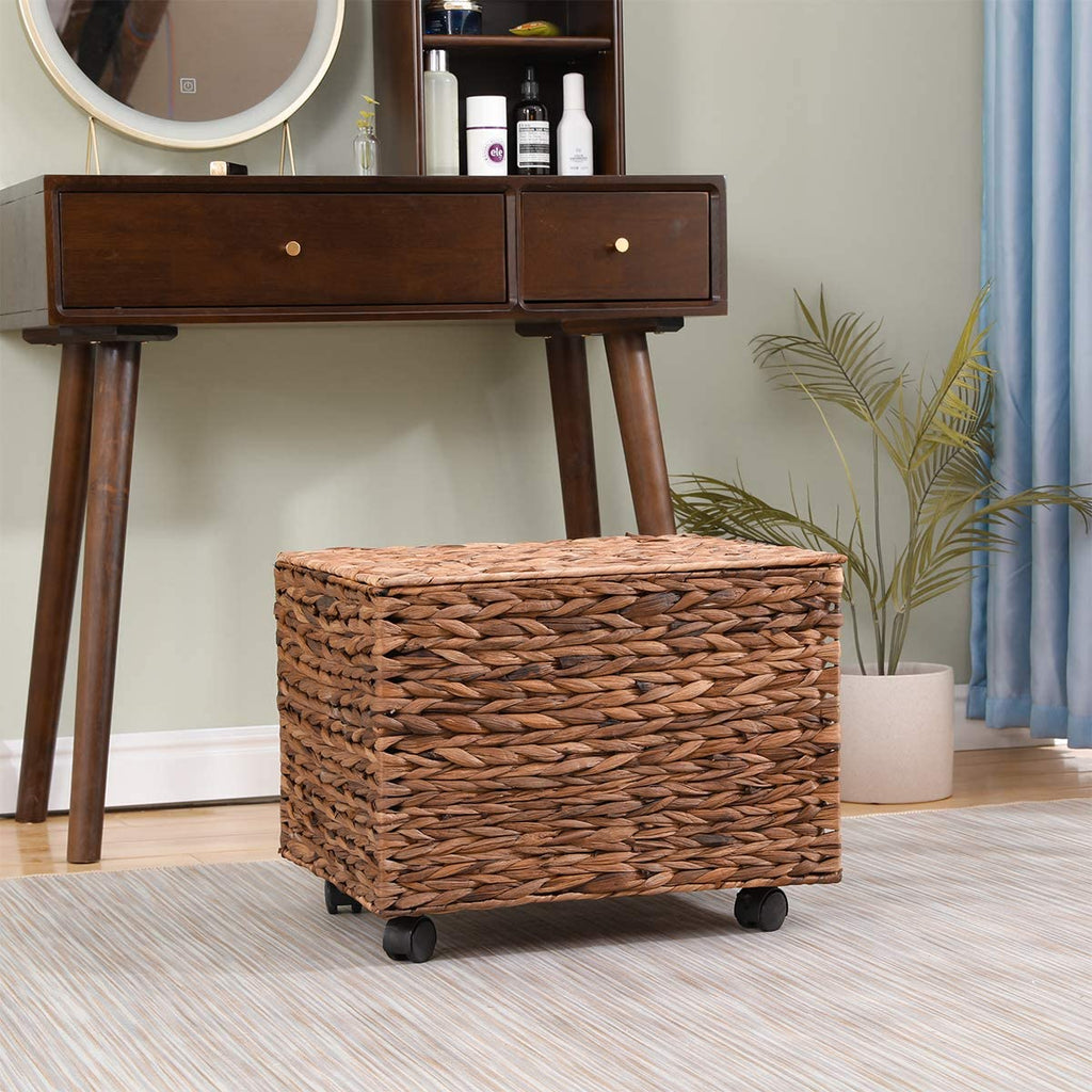 Rattan Wicker Basket Storage Tower, Water Hyacinth Storage Tower Beside Table Storage Organizer End Table for Bathroom