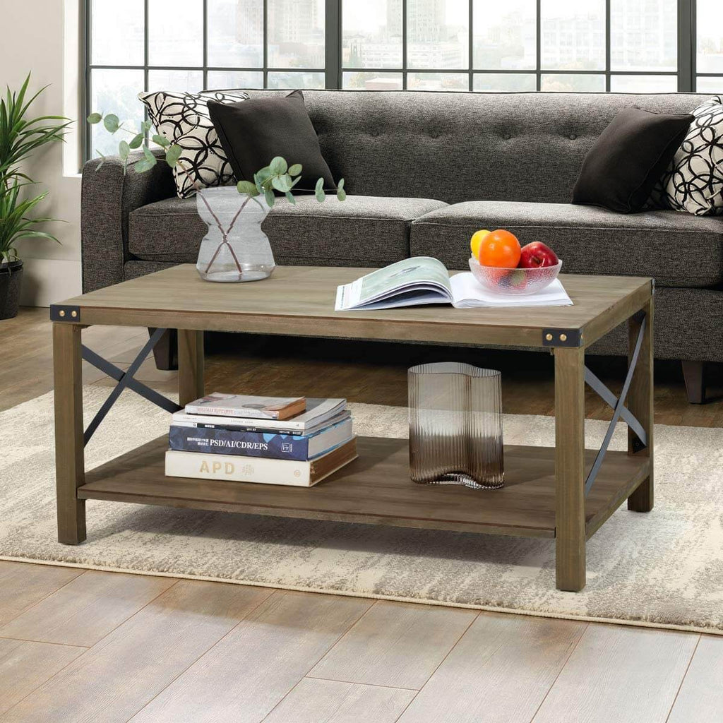 Industrial Coffee Table Wood Look Tea Table with Storage Shelf for Living Room Accent Furniture with Metal Frame, Easy Assembly