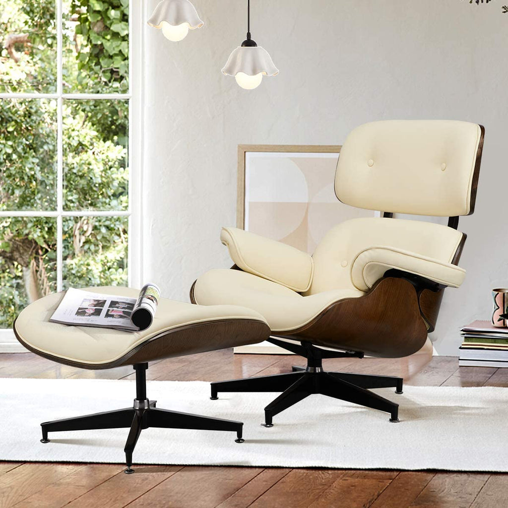 Eames Lounge Chair with Ottoman, Mid Century Modern Lounge Chair, Faux Leather Lounge Chair with Light Vibration Massage Function and Storage Bag(White)