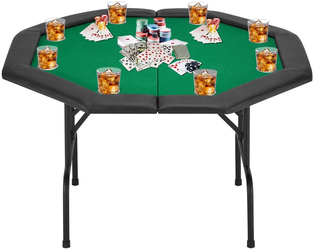 Poker Game Table w/Stainless Steel Cup Holder for 8 Player w/Leg, Octagon Casino Leisure Table Top Texas Hold'em Poker Table, Green Felt