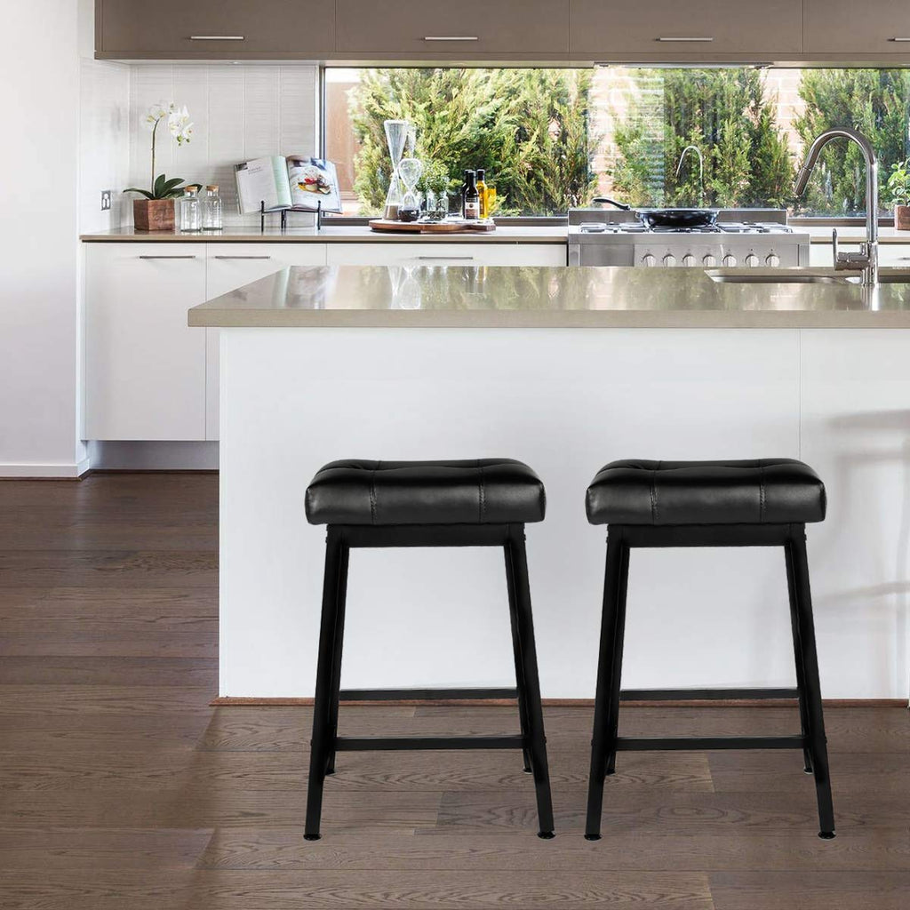 24 inches Counter Height Bar Stools Set of 2  with Faux Leather Cushion