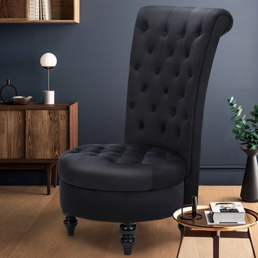 Retro High Back Armless Chair/Velvet-Touch Fabric Upholstered Tufted Royal Accent Seat, Black
