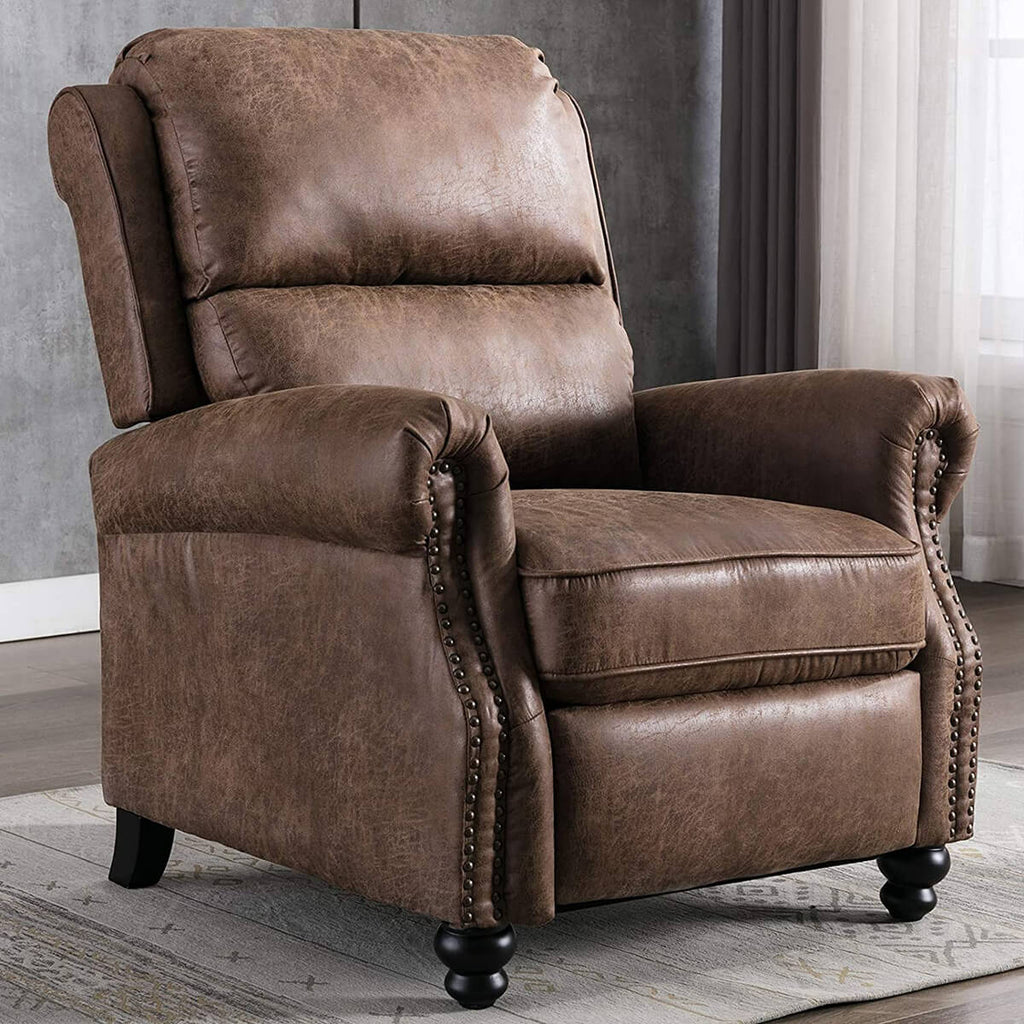 Recliner Chair, Arm Chair Push Back Recliner with Rivet Decoration, Cholocate