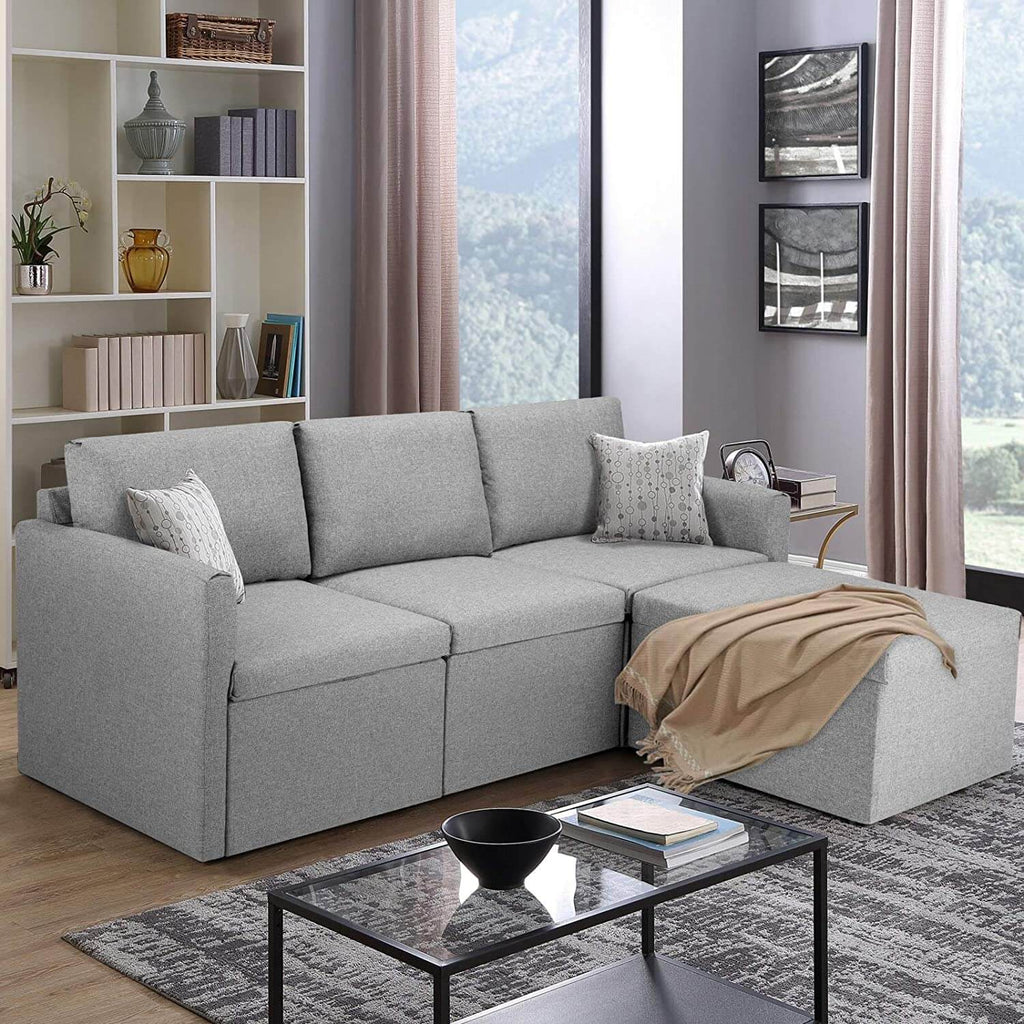 Convertible Sectional Sofa Couch, L-Shaped Couch with Reversible Chaise, Modern Linen Fabric Sofa for Small Space, Gray