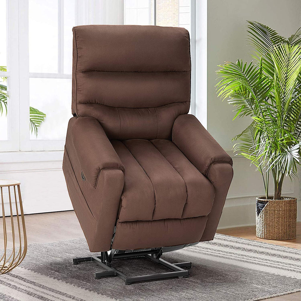 Esright Electric Power Lift Recliner Chair Recliner Sofa for Elderly, Microfiber Recliner Chair with Heated Vibration Massage, 2 Side Pockets and USB Ports, Brown