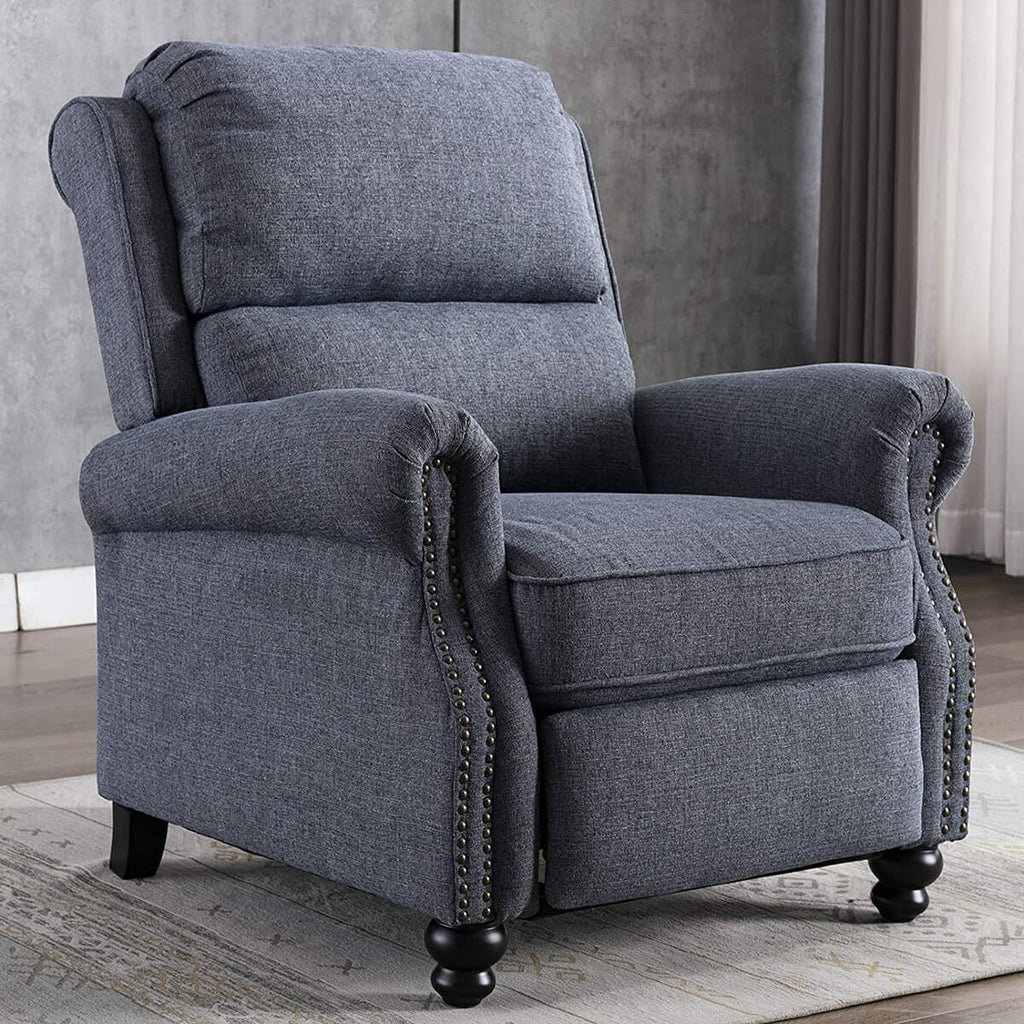 Recliner Chair, Arm Chair Push Back Recliner with Rivet Decoration, Navy