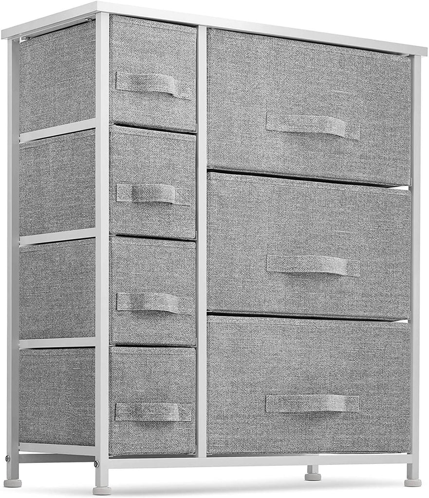 7 Drawers Dresser Furniture Storage Tower Unit for Bedroom, Hallway, Closet, Office Organization - Steel Frame, Wood Top, Easy Pull Fabric Bins, Gray/White