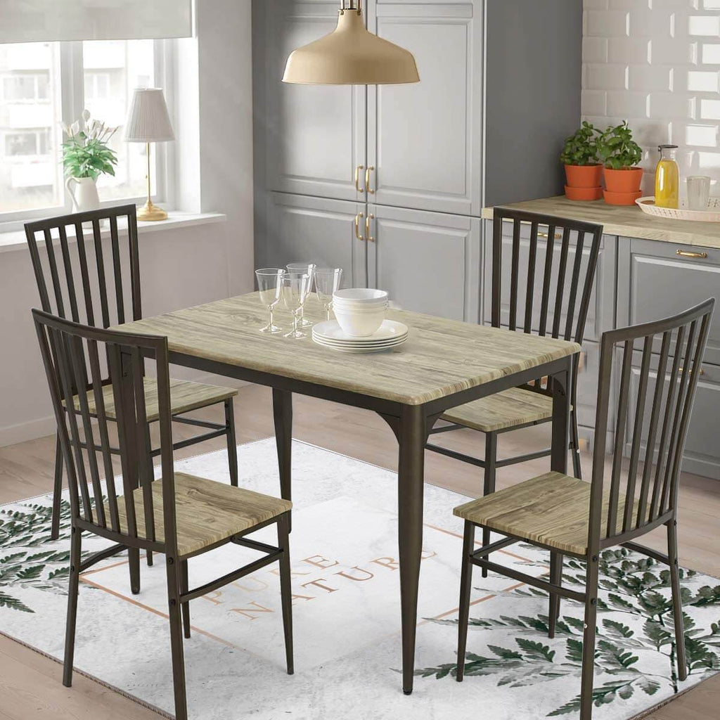 Industrial Style 5-Piece Dining Set, Wooden Kitchen Table and 4 Chairs with Metal Legs, Dining Set, Modern and Sleek Dinette