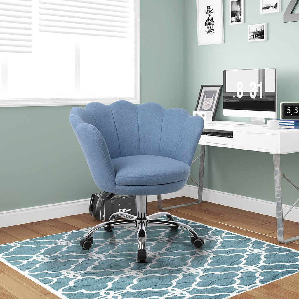 Modern Home Office Chair, Cute Velvet Upholstered Shell Chair Adjustable Swivel Vanity Chair for Women, Blue