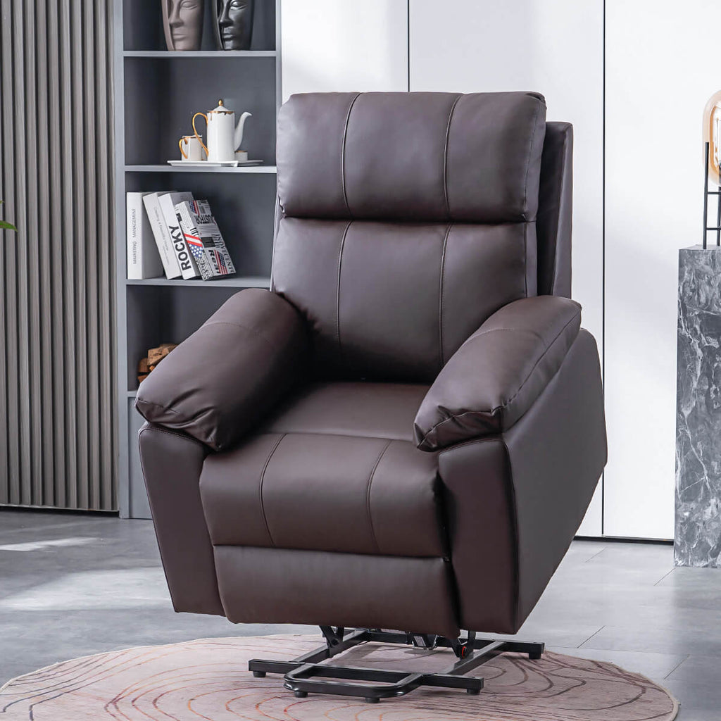 Lift Chair Recliner, PU Leather Recliner with Massage and Heat, Power Lift Chair Electric Recliner Chair for Elderly with Wireless Remote Control, Side Pocket Brown