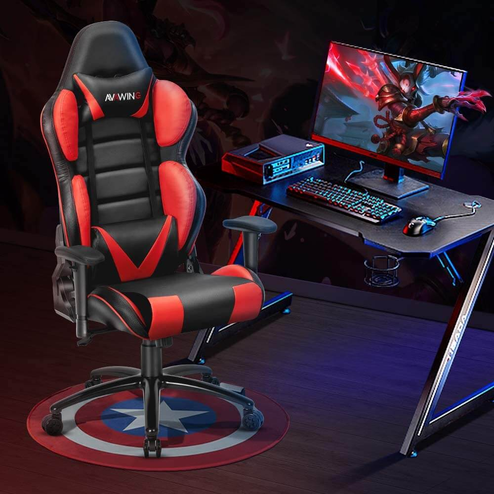 HomRest Ergonomic Reclining Gaming Chair, Leather Racing Chair with High Backrest and Adjustable Seat, E-Sports Chair with Lumbar Pillow, Red