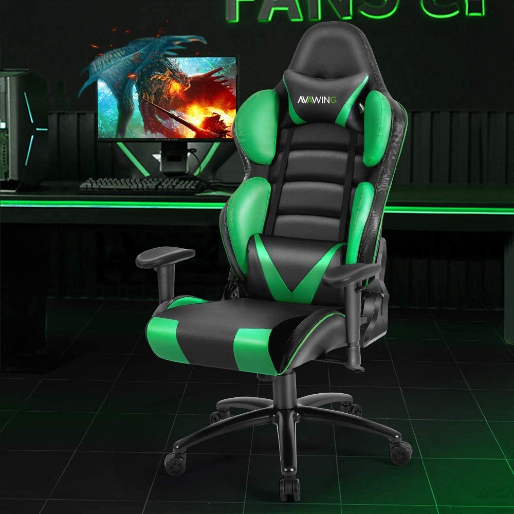HomRest Ergonomic Reclining Gaming Chair, Leather Racing Chair with High Backrest and Adjustable Seat, E-Sports Chair with Lumbar Pillow, Green