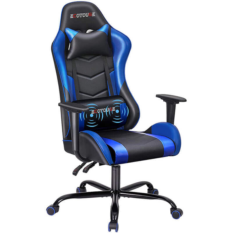 HOMREST PC Gaming Chair Massage Ergonomic Office Desk Chair Racing PU Leather Recliner Swivel Rocker with Headrest and Lumbar Pillow, Black & Blue