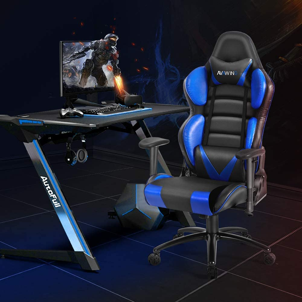 HomRest Ergonomic Reclining Gaming Chair, Leather Racing Chair with High Backrest and Adjustable Seat, E-Sports Chair with Lumbar Pillow, Blue