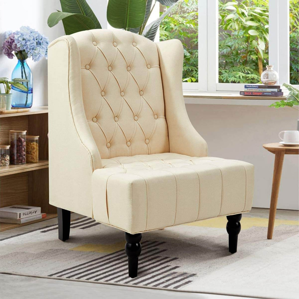 Esright High-Back Fabric Club Chair, Wingback Chair, Modern Accent Chair for Living Room, Bedroom, Creamy White